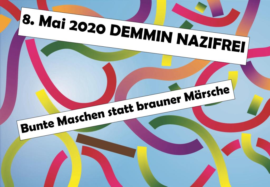 8.Mai 2020 Demmin Nazifrei - Bunte Maschen statt brauner Märsche