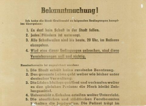 NDR erzählt über die Verhandlungen zur kampflosen Übergabe Greifswalds